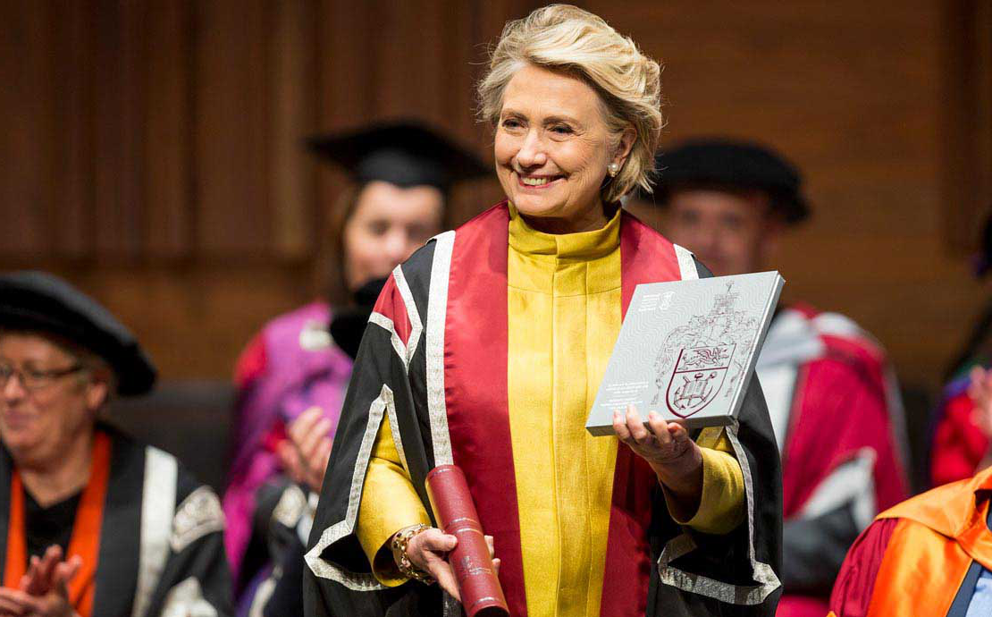 Hillary Rodham Clinton receiving an honorary doctorate at Swansea University