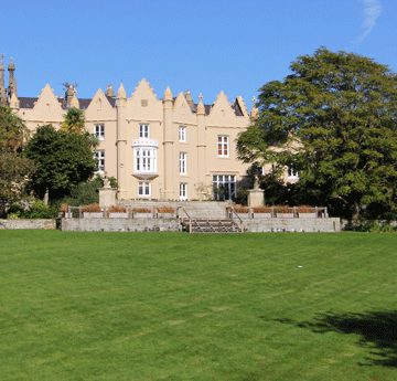Rear view of Singleton Abbey on a sunny day